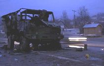 Burnt KFOR truck in Leposavic